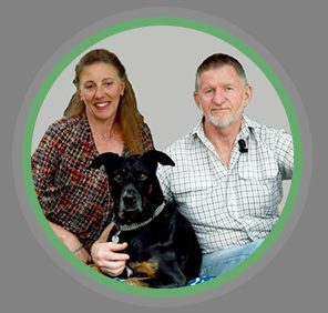 Photograph of Deb, Rob and their dog Zoe.